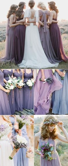 shades of purple bridesmaid dresses for lavender wedding ideas
