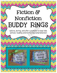 Fiction & Nonfiction Buddy Rings - Before, During, and After Questions for Active Reading product from R-is-for-Reading on TeachersNotebook.com