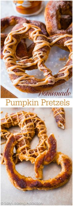 Homemade Pumpkin Pretzels - soft pretzels are so easy to make at home! Add a little pumpkin spice and a drizzle of sweet pumpkin praline gla...