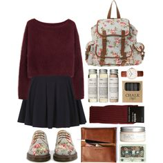 Floral and burgundy by hanaglatison on Polyvore featuring Steven Alan, Don't Ask Amanda, Dorothy Perkins, ASOS, H&M and Jayson Home