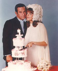 Get Smart (1965-1970) <--this show brings back happy memories from my childhood, but pinning this picture because of 99's crazy headdress....this show taught me to be glad i was not born into 1960s fashion!