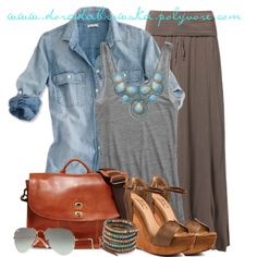 """Long skirt&denim shirt"" by doradabrowska on Polyvore"