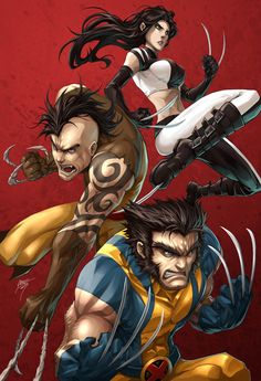 Wolverine, X-23 and Daken - very cartooney, but it shows their whole psychotic family.