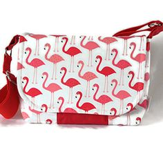 Red and white Flamingo Messenger bag - handmade bag- red and white cotton satchel - adjustable strap- bird bag