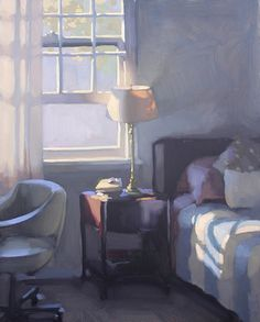 bedside manor – oil painting – by Jennifer Diehl. Interior Paint, Interior And Exterior, Room Paint, Oeuvre D'art, Traditional Art, Painting Inspiration, Painting & Drawing, Contemporary Art, Home Decor