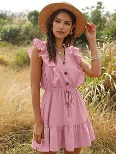 Mini Dresses For Women, Short Dresses, Women's Dresses, Couleur Rose Pastel, Short Mini Dress, Ruffle Dress, Ruffle Trim, Ideias Fashion, Vintage Dresses