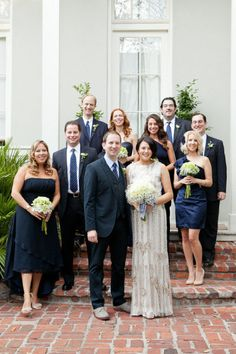 Wedding party wearing Great Gatsby style.  Bridesmaids in navy  Photography by Tory Williams / torywilliams.com