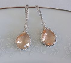 Peach Bridesmaid Earrings Peach Bridesmaid Jewelry by PoetryBridal