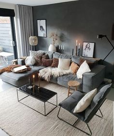 Stylish and cozy interior located in Netherlands.Photo courtesy … credit Stylish and cozy interior located in Netherlands. Cozy Living Rooms, Living Room Grey, Home Living Room, Apartment Living, Cosy Living Room Decor, Living Room Colors, Living Room Interior, Interior Design Living Room, Living Room Designs