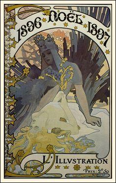 """Alphonse Mucha, """"Noel"""" cover for""""L'Illustration,"""" 1896"""