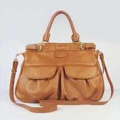 Miu Miu Front Pocket Brown Leather Tote bag