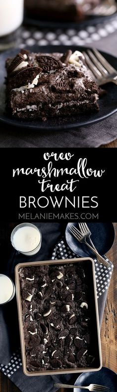These Oreo Marshmallow Treat Brownies are what Oreo lovers dream about. A single pan of brownies that includes TWO packages of Double Stuf Oreos. Chocolate fudge brownies are topped with a layer of Oreos before being baked and then topped with an Oreo marshmallow treat mixture and even more Oreos.: