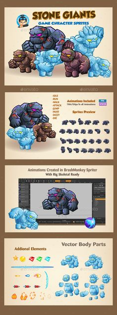 Stone Giants Game Character Sprites — Vector EPS #platform #sprite sheet • Available here → https://graphicriver.net/item/stone-giants-game-character-sprites/19494973?ref=pxcr