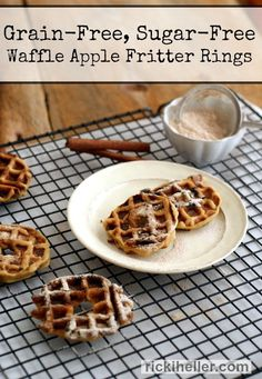 Low Fat, Grain-Free, Egg-Free, Sugar-Free Waffle Apple Fritter Rings (Diet, Dessert and Dogs) Regime Anti Candida, Anti Candida Diet, Candida Diet Recipes, Dairy Free Recipes, Whole Food Recipes, Vegan Recipes, Sugar Free Waffles, Beignets, Sin Gluten