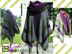 Late Bloomer Cowl Poncho(Cowlcho). The cowl is attached and can be worn as a hood, wrapped as a scarf or hung like a cowl. I didn't realize i made it in my own colours. lol. crochet poncho.