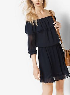 Designed in a shoulder-baring silhouette, this chiffon dress showcases playful ruffles and a flirty above-the-knee hem. Style it with leather extras to evoke the season's modern bohemian mood.