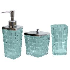 Glass Bath Accessory Set With A Basket Weave Design. Product: Tumbler, Soap  Dispenser And JarConstruction Material: Glass And SteelColor: AquaFeatures:  ...