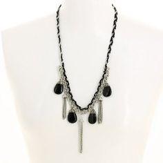 Collier fantaisie noir fait main - Bijou en métal, tissu, perles: ShalinCraft: Amazon.fr: Bijoux