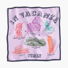 Italian silk bandana in vacanza print