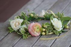 Flower girl wreath   Roses, berries, ranunculus, mint   Four Leaf Clover Designs, NEPA