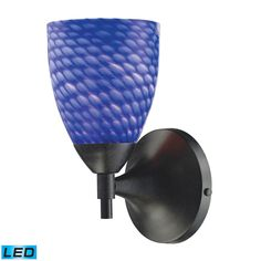 Celina 1 Light LED Sconce In Dark Rust And Sapphire Glass 10150/1DR-S-LED