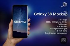 Samsung Galaxy S8 mockup by RSplaneta on @creativemarket Update 1.2 Fixed Galaxy S8 appearance Added one more mockup (phone in woman hand isometric) Aded 5 phone colors (default Samsung colors) Update 1.1 Fixed aspect ratio and resolution to 1440 x 2960 WQHD+ Samsung Galaxy S8 mockup Photoshop file is designed for web site and app promotion. Samsung unveiled its flagship phone on March 21st. Samsung Galaxy S8 will be the most popular Android phone in the world and its great design and…