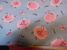 Pink Pigs Frolicking and Baby Blue Background Flannel by The Half Yard   eBay