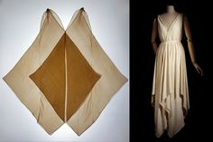 Evening dress by Madeleine Vionnet, flat and modelled, 1920  (Musee des Arts decoratifs, Paris)