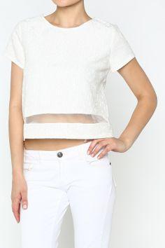 Sheer Insert Blouse #wholesale #summer #cardigan #sweater #pants #jacket #sweater #fashion #clothing #ootd #wiwt #shopitrightnow #graphics #patterns