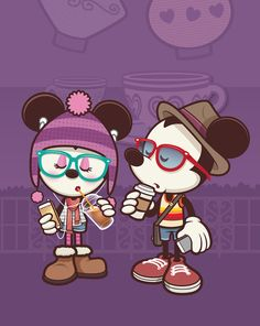 Disney Mickey and Minnie Mouse ''Hipsters in Wonderland'' Gicleé by Jerrod Maruyama - Small Hipster Disney, Disney Amor, Disney Nerd, Arte Disney, Disney Parks, Disney Magic, Mickey Mouse Y Amigos, Mickey And Minnie Love, Mickey Mouse And Friends