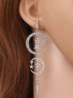 Prezzi e Sconti: #Rhinestoned stars moon drop earrings  ad Euro 2.85 in #Jewelry #Moda