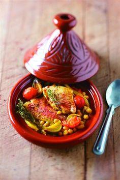 Tajine de rouget, fenouil, tomates cerises et safran.  Traditional dish of MOROCCO