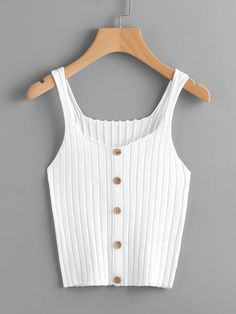 To find out about the Button Front Rib Knit Top at SHEIN, part of our latest Tank Tops & Camis ready to shop online today! Teen Fashion Outfits, Look Fashion, Trendy Outfits, Fashion Clothes, Summer Outfits, Cute Outfits, Fashion Dresses, Jugend Mode Outfits, Cute Tank Tops