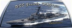 USS Gravely is DDG107 a US Navy destroyer ship on a rear window graphic mural.