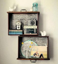 Throw Away Those Old Dresser Drawers! Here Are 13 Ways to Repurpose Them Instead Don't Throw Away Those Old Dresser Drawers! Here Are 13 Genius Ways to Repurpose…Don't Throw Away Those Old Dresser Drawers! Here Are 13 Genius Ways to Repurpose… Drawer Shelves Diy, Wall Shelves, Display Shelves, Diy Shelving, Box Shelves, Drawer Ideas, Suitcase Shelves, Display Boxes, Glass Shelves