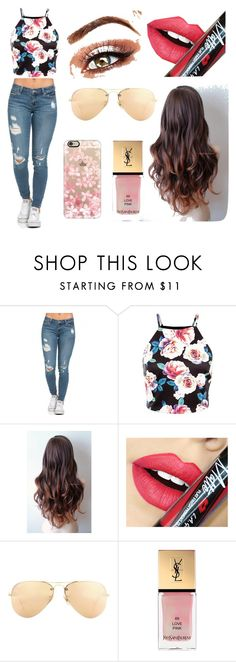 """Cute spring outfit"" by cjr429 ❤ liked on Polyvore featuring Fiebiger, Ray-Ban, Yves Saint Laurent, Casetify, women's clothing, women, female, woman, misses and juniors"