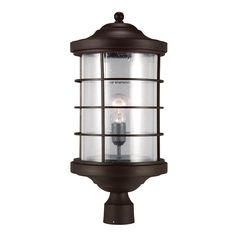 Sea Gull Lighting Sauganash 1-Light Outdoor Antique Bronze Post Lantern with Clear Seeded Glass-8224401-71 - The Home Depot
