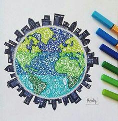 Stabilo zentangle art of the earth and surrounding city skyline Stabilo Zentangle Kunst der Erde und der umliegenden Skyline der Stadt Beautiful Drawings, Cool Drawings, Dibujos Zentangle Art, Mandala Drawing, Doodle Art, Art Sketches, Art Inspo, Painting & Drawing, Draw