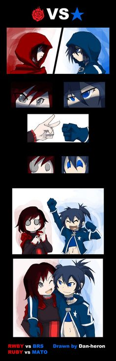 Yeah, I couldn't think of a more epic clash between those two. Because they both are dorks. Adorable, but stupid. Ruby from RWBY vs Mato from Black Rock Shooter