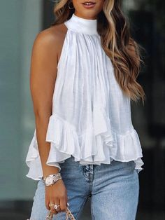 Stylish Clothes For Women, Casual Tops For Women, Stylish Outfits, Cute Outfits, Beach Outfit For Women, Summer Outfits For Teens, Cute White Tops, Mode Top, Girl Fashion