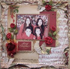 Shabby Christmas scrapbook layout