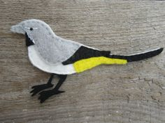 Cute felt grey wagtail magnet from my Folksy shop Felt Magnet, Any Birds, Gifts For Nature Lovers, Kingfisher, Gifts For Dad, Magnets, Embroidery, Pets, Grey Wagtail