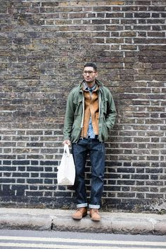 LONDON Workwear Fashion, Denim Fashion, Americana Vintage, M65 Jacket, Cool Outfits, Casual Outfits, Men's Outfits, Modern Mens Fashion, Rugged Style