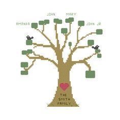 A personal favorite from my Etsy shop https://www.etsy.com/listing/123749264/family-tree-cross-stitch-pattern-modern