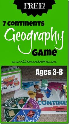 Free Seven Continents Geography Game Roll into Geography – FREE printable game to teach preschool and homeschool kindergarten, grade, and graders about the 7 continents. This game was created to work with How to Make and Apple Pie and See the World book. Geography Games For Kids, Geography Activities, Geography Lessons, Teaching Geography, World Geography, Teaching Kids, Teach Preschool, Fun Learning, Preschool Social Studies