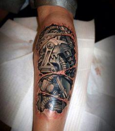 tatuajes biomecanicos en 3d Gear Tattoo, Rip Tattoo, Knot Tattoo, Armor Tattoo, Arm Band Tattoo, Tattoos 3d, Dad Tattoos, Arm Tattoos For Guys, Unique Tattoos