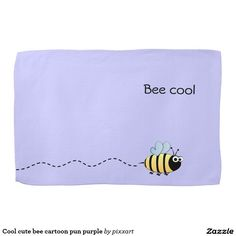 Cool cute bee cartoon pun purple kitchen towel