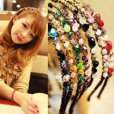 Lady Women Girls Retro Rhinestone Crystal hair clips Headband Party Jewelry…