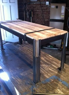 Hand Crafted Reclaimed Steel Pallet Bench Designer Repurposed Chic Coffee Table. $900.00, via Etsy.