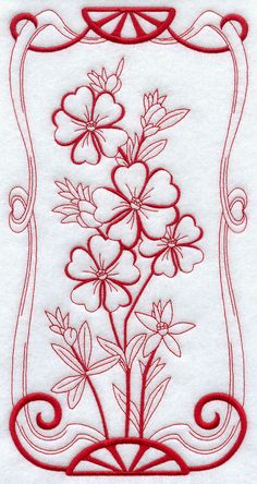 Australian Art Nouveau Guinea Flowers (Redwork) design (G9126) from…